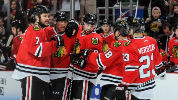 Saad leaves Blackhawks' game with injury