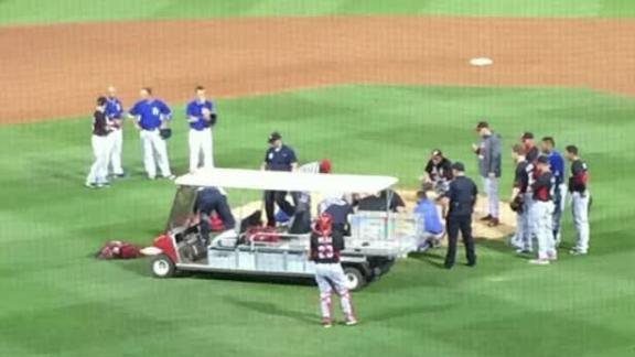 Chapman hit in face by line drive, hospitalized