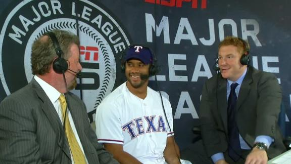 Video - Russell Wilson Attends Rangers' Game