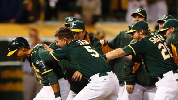Crisp's walk-off homer lifts Athletics in 12th