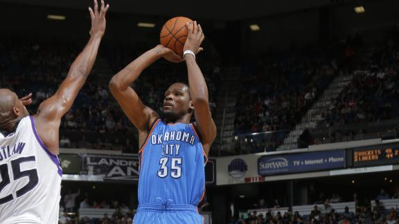 Durant's streak ends at 41 as Thunder roll