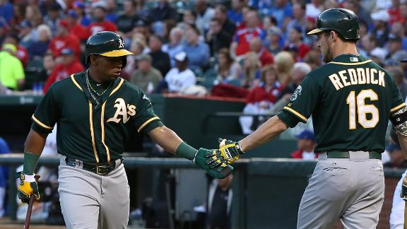 A's complete sweep of Rangers with rout