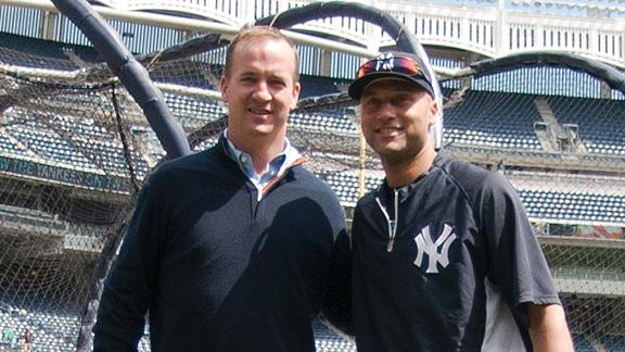 Peyton Visits Jeter At Yankee Stadium