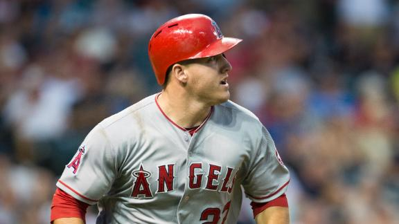 Trout's 2 HRs back rolling rookie Shoemaker