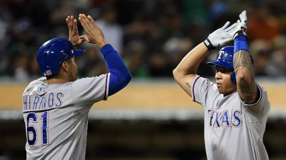Rangers belt 4 homers in romp at Oakland