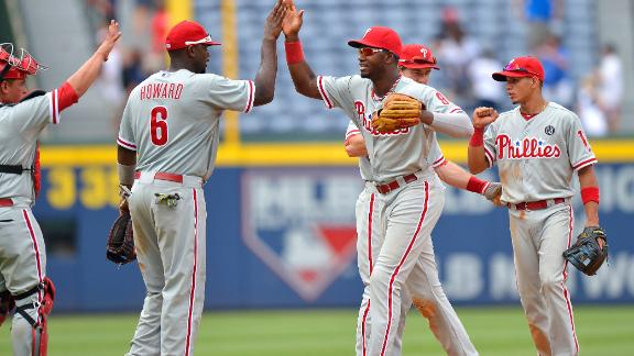 Phillies batter Braves with 18 hits for sweep