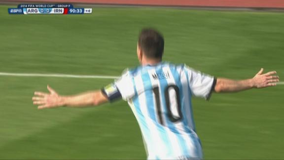 GOAL: Lionel Messi (90'1) Argentina 1-0 Iran