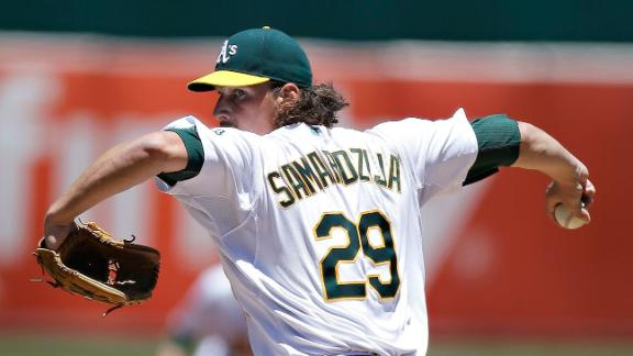Samardzija stymies Jays to win in A's debut