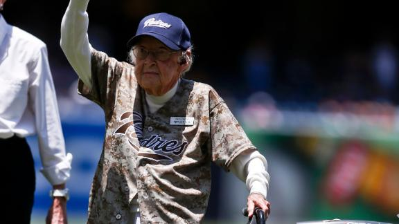 Video - 105-Year-Old Winds Up, Throws Out First Pitch