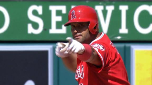 Trout, Pujols Mimic Pitcher's Celebration