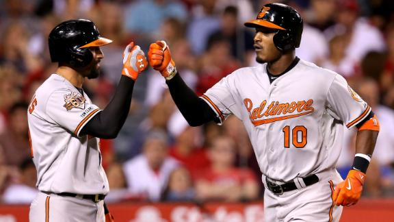 The Grand Slam: Adam Jones hits two homers, beats Angels all by…