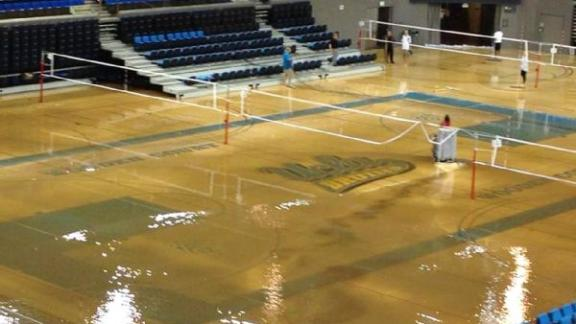 Flood Threatens Pauley Pavilion Court