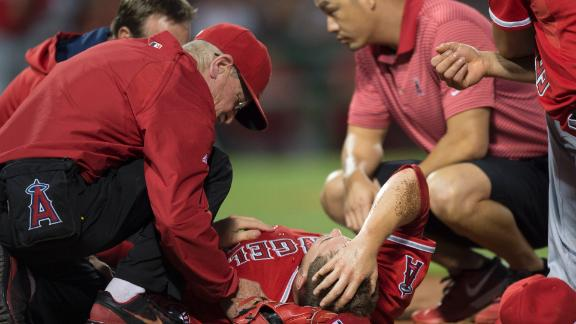 Angels Ace Carted Off Field