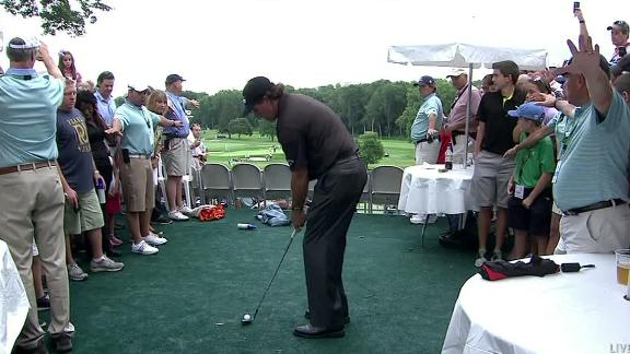 Mickelson Plays Ball From Hospitality Tent
