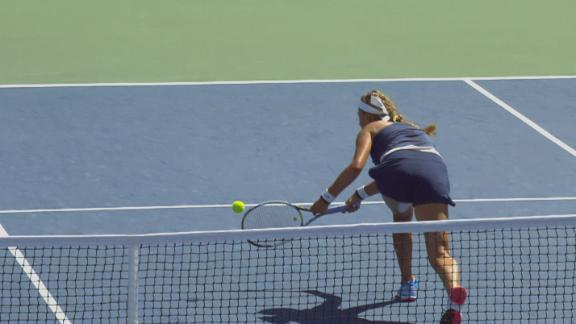 Vika's Spectacular Recovery Shot