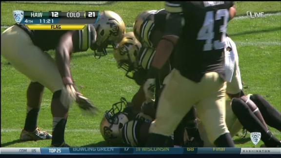 4Q HAW COLORADO penalty, Defensive holding (G. Henderson) for a 1ST down