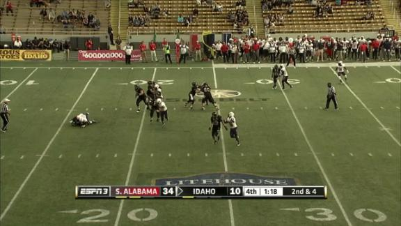 4Q IDHO M. Linehan sacked by D. Harper for -9 yds