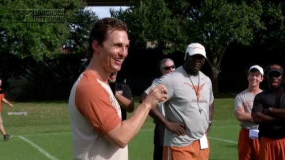 Actor McConaughey Talks To Texas Football Squad