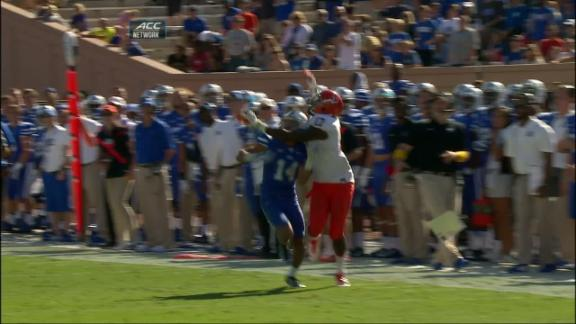 4Q UVA DUKE penalty, Defensive pass interference (NA) for a 1ST down