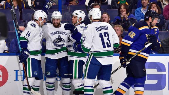 Canucks Score Three Goals In Third To Top Blues