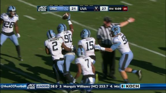 4Q UNC G. Lambert pass intercepted,N. Jones return for 20 yds