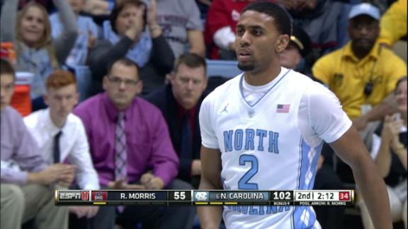 2H UNC J. Berry II made Three Point Jumper. Assisted by J. Coleman.