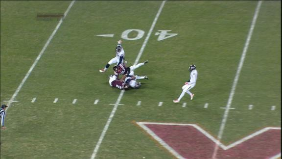 2Q UVA A. Hughes punt for 49 yds for a 1ST down,K. Shepherd returns for -1 yds for a 1ST down,VIRGINIA TECH penalty, Personal Foul (-15 Yards) for a 1ST down