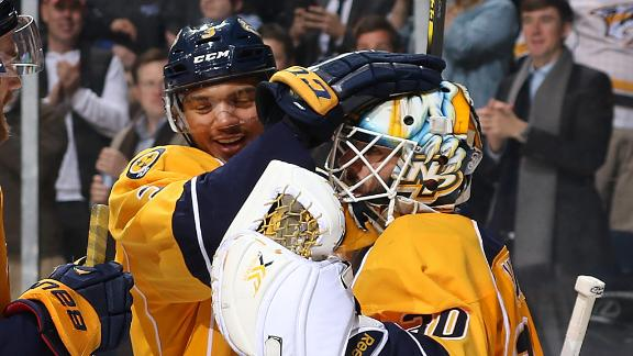 Video - Carter Hutton Makes Amazing Save In Predators' Win