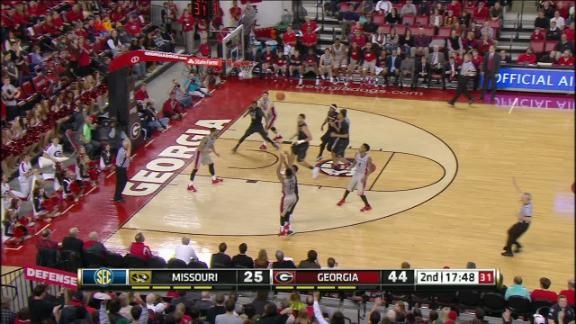 2H UGA K. Gaines made Three Point Jumper. Assisted by C. Mann.