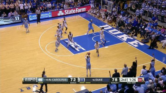 2H UNC L. Coleman made Three Point Jumper. Assisted by J. Washington.
