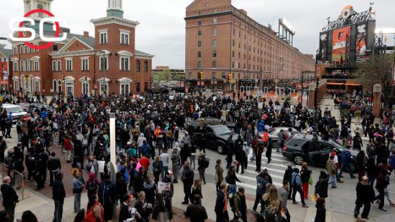 Protests take place outside Camden Yards