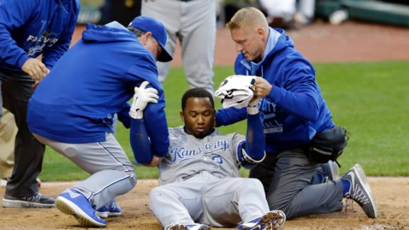 Escobar hit in the head in Royals' loss