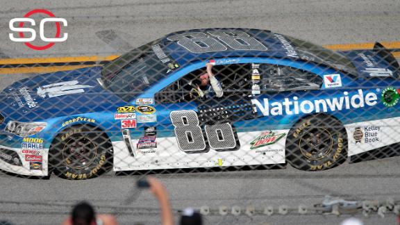Earnhardt Jr. missing his dad after win at Talledega