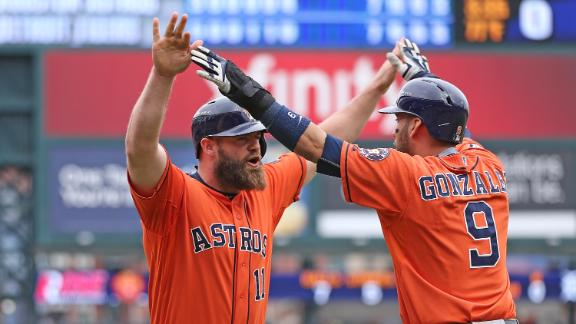 Astros hang out to split series with Tigers