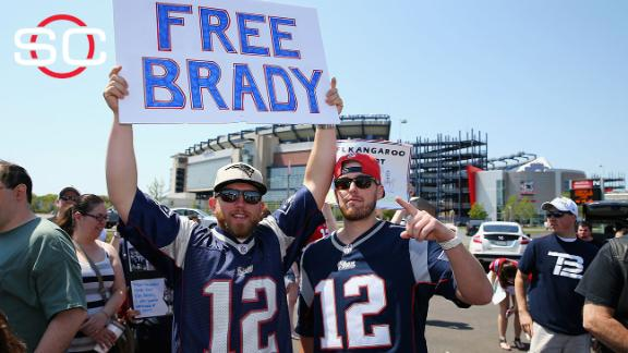 Patriots fans rally in support of Tom Brady outside at Gillette Stadium