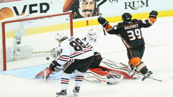 Ducks down Blackhawks on quick goal after Jonathan Toews forces OT