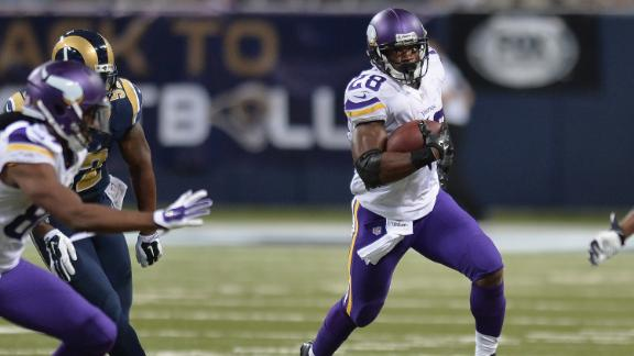 Adrian Peterson says it feels good to be back with Minnesota Vikings