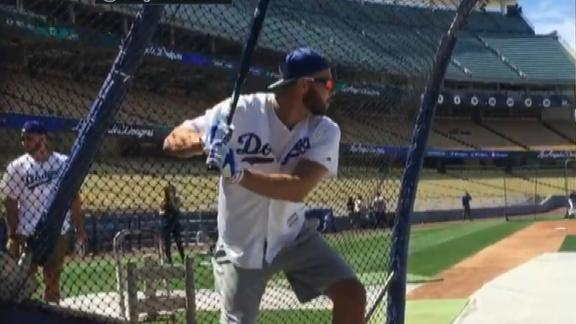 Blake Griffin practices with the Dodgers