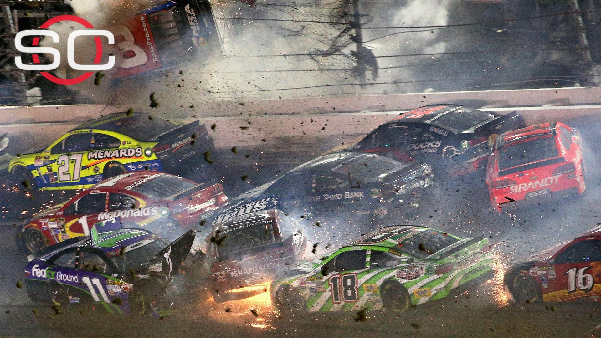Daytona race ends with scary wreck