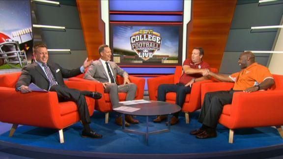 Texas and Oklahoma head coaches talk football