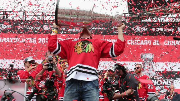 Hossa eats perogies out of the Stanley Cup