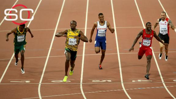 Usain Bolt gets hit by Segway after completing sprint double at worlds