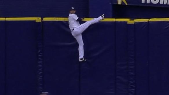 Morales' home run hits catwalk