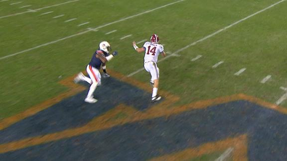 Coker dodges defenders, throws long TD pass to Stewart