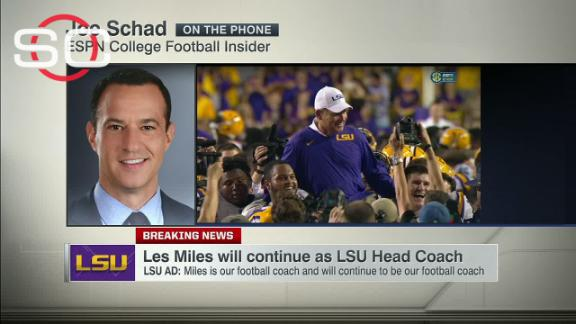 Miles to remain coach at LSU, AD says after win