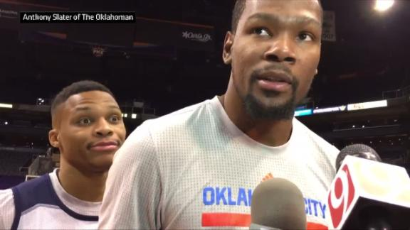 Westbrook decides to crash Durant's interview