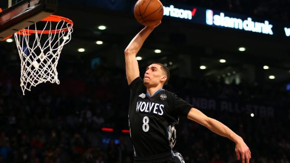 LaVine repeats in epic NBA slam dunk contest