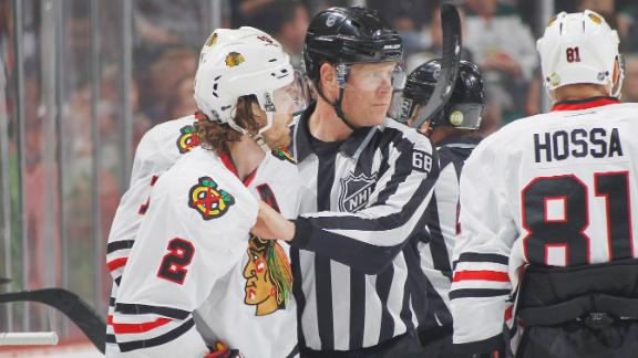 Duncan Keith ejected for swinging his stick