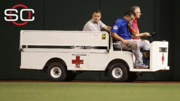 Schwarber being evaluated for sprained ankle after being carted off