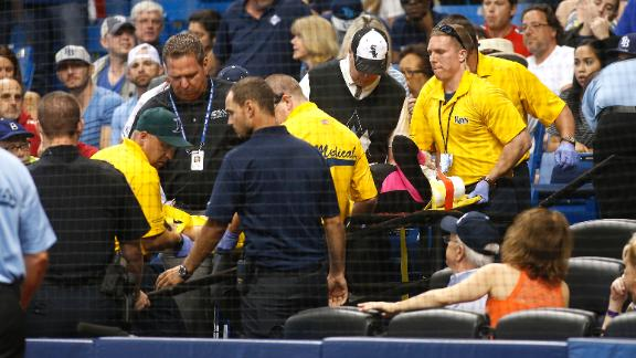 Fan leaves Rays game after getting hit with ball